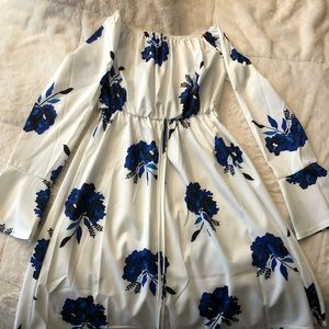 White with blue flower dress